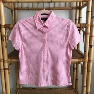F. By Faconnable pink check button down - small